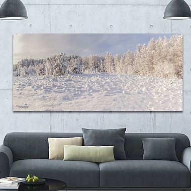 DesignArt 'Wood Winter Glade' Photographic Print on Wrapped Canvas; 28'' H x 60'' W x 1.5'' D