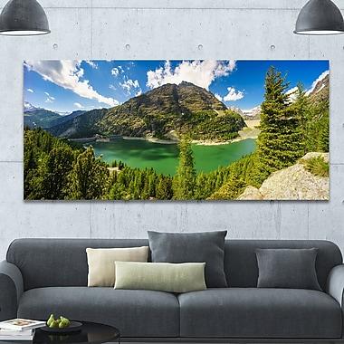 DesignArt 'Greeny Alpine Reservoir' Photographic Print on Wrapped Canvas; 28'' H x 60'' W x 1.5'' D