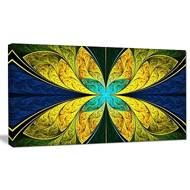 DesignArt 'Bright Yellow Blue Fractal Flower' Graphic Art on Wrapped Canvas; 12'' H x 20'' W x 1'' D