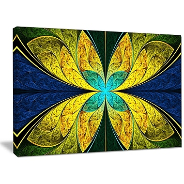 DesignArt 'Bright Yellow Blue Fractal Flower' Graphic Art on Wrapped Canvas; 30'' H x 40'' W x 1'' D