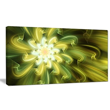 DesignArt 'Dance of Yellow Fractal Petals' Graphic Art on Wrapped Canvas; 20'' H x 40'' W x 1'' D