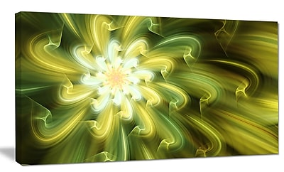 DesignArt 'Dance of Yellow Fractal Petals' Graphic Art on Wrapped Canvas; 12'' H x 20'' W x 1'' D