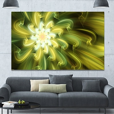 DesignArt 'Dance of Yellow Fractal Petals' Graphic Art on Wrapped Canvas; 40'' H x 60'' W x 1.5'' D