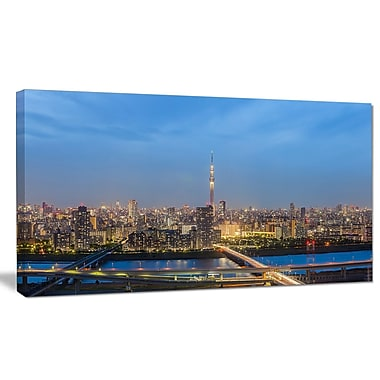 DesignArt 'Tokyo City View Panorama' Photographic Print on Wrapped Canvas; 16'' H x 32'' W x 1'' D