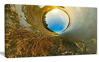 DesignArt 'Kayak in River Little Planet' Graphic Art on Wrapped Canvas; 20'' H x 40'' W x 1'' D