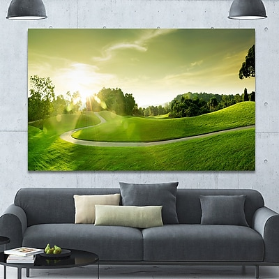 DesignArt 'Green Valley Panorama' Photographic Print on Wrapped Canvas; 40'' H x 60'' W x 1.5'' D
