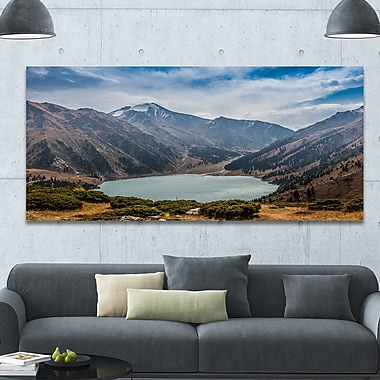 DesignArt 'Mountain Lake under Blue Sky' Photographic Print on Wrapped Canvas