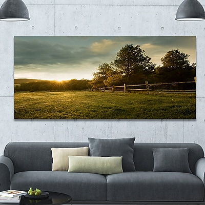 DesignArt 'Beautiful Sunrise in the farm' Photographic Print on Wrapped Canvas