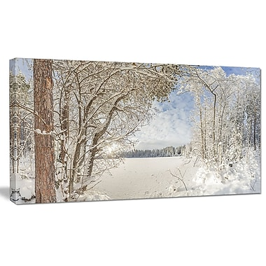 DesignArt 'Lake in Winter Woods' Photographic Print on Wrapped Canvas; 12'' H x 20'' W x 1'' D