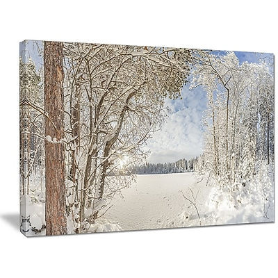DesignArt 'Lake in Winter Woods' Photographic Print on Wrapped Canvas; 30'' H x 40'' W x 1'' D