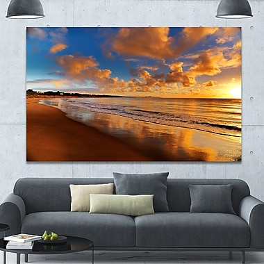 DesignArt 'Colorful Sunset on the Beach' Photographic Print on Wrapped Canvas