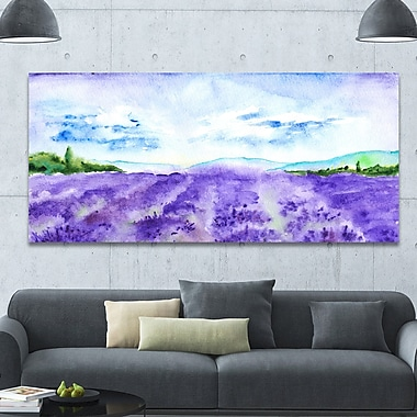 DesignArt 'Blue Lavender Fields Watercolor' Photographic Print on Wrapped Canvas