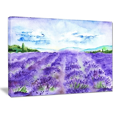 DesignArt 'Lavender Fields Watercolor' Photographic Print on Wrapped Canvas; 30'' H x 40'' W x 1'' D