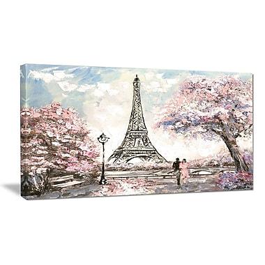 DesignArt 'Eiffel w/ Pink Flowers' Photographic Print on Wrapped Canvas; 16'' H x 32'' W x 1'' D