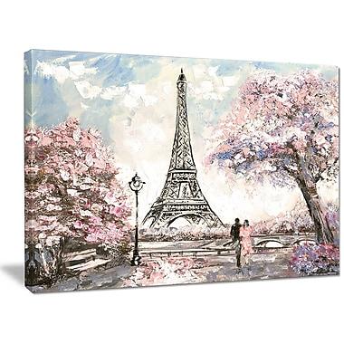 DesignArt 'Eiffel w/ Pink Flowers' Photographic Print on Wrapped Canvas; 30'' H x 40'' W x 1'' D