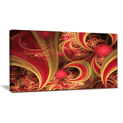 DesignArt 'Pink Symmetrical Fractal Pattern' Graphic Art on Wrapped Canvas; 16'' H x 32'' W x 1'' D