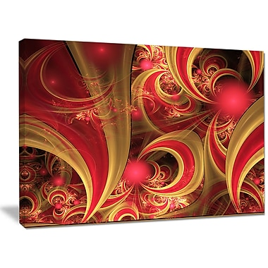 DesignArt 'Pink Symmetrical Fractal Pattern' Graphic Art on Wrapped Canvas; 30'' H x 40'' W x 1'' D