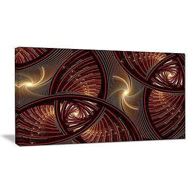 DesignArt 'Brown Symmetrical Fractal Pattern' Graphic Art on Wrapped Canvas; 16'' H x 32'' W x 1'' D