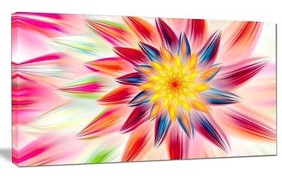 DesignArt 'Pink Dancing Flower Petals' Graphic Art on Wrapped Canvas; 16'' H x 32'' W x 1'' D