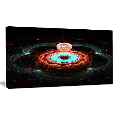 DesignArt 'Balloon over Fractal Colored Area' Graphic Art on Wrapped Canvas; 20'' H x 40'' W x 1'' D