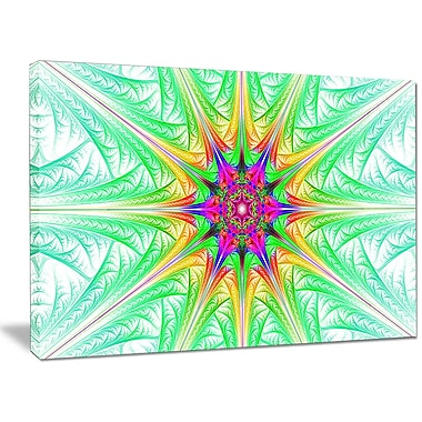 DesignArt 'Green Fractal Stained Glass' Graphic Art on Wrapped Canvas; 30'' H x 40'' W x 1'' D