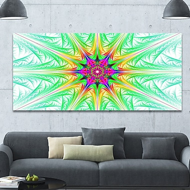 DesignArt 'Green Fractal Stained Glass' Graphic Art on Wrapped Canvas; 28'' H x 60'' W x 1.5'' D