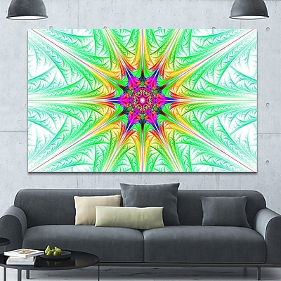 DesignArt 'Green Fractal Stained Glass' Graphic Art on Wrapped Canvas; 40'' H x 60'' W x 1.5'' D