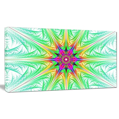 DesignArt 'Green Fractal Stained Glass' Graphic Art on Wrapped Canvas; 16'' H x 32'' W x 1'' D