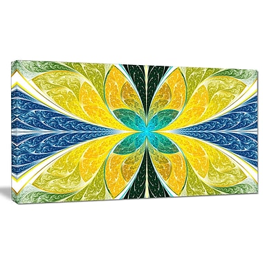 DesignArt 'Yellow Fractal Stained Glass' Graphic Art on Wrapped Canvas; 16'' H x 32'' W x 1'' D