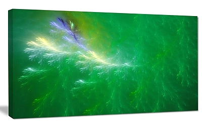 DesignArt 'Green Fractal Thunder Sky' Graphic Art on Wrapped Canvas; 12'' H x 20'' W x 1'' D