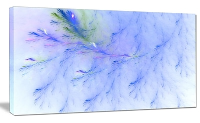 DesignArt 'Light Blue Veins of Marble' Graphic Art on Wrapped Canvas; 16'' H x 32'' W x 1'' D