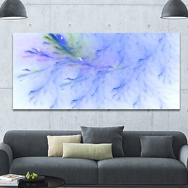 DesignArt 'Light Blue Veins of Marble' Graphic Art on Wrapped Canvas; 28'' H x 60'' W x 1.5'' D