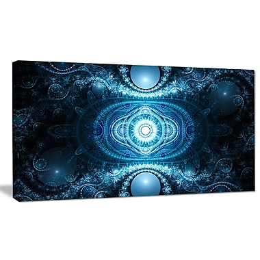 DesignArt 'Cabalistic Light Blue Pattern' Graphic Art on Wrapped Canvas; 16'' H x 32'' W x 1'' D