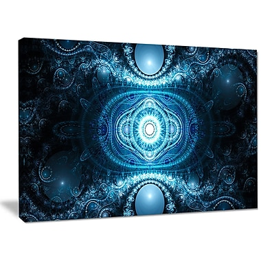 DesignArt 'Cabalistic Light Blue Pattern' Graphic Art on Wrapped Canvas; 30'' H x 40'' W x 1'' D