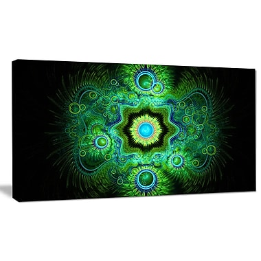 DesignArt 'Cabalistic Bright Green Texture' Graphic Art on Wrapped Canvas; 16'' H x 32'' W x 1'' D