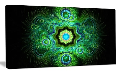 DesignArt 'Cabalistic Bright Green Texture' Graphic Art on Wrapped Canvas; 12'' H x 20'' W x 1'' D