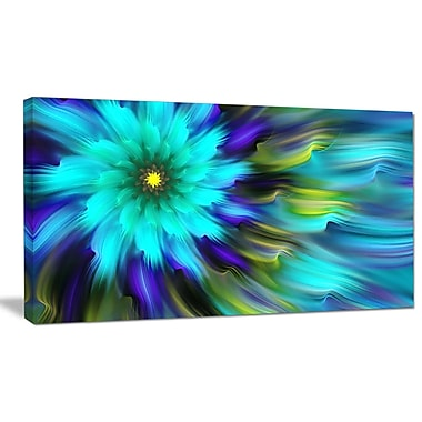 DesignArt 'Massive Blue Green Fractal Flower' Graphic Art on Wrapped Canvas; 20'' H x 40'' W x 1'' D