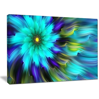 DesignArt 'Massive Blue Green Fractal Flower' Graphic Art on Wrapped Canvas; 30'' H x 40'' W x 1'' D