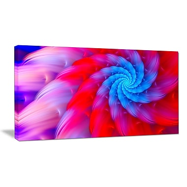 DesignArt 'Rotating Red Pink Fractal Flower' Graphic Art on Wrapped Canvas; 20'' H x 40'' W x 1'' D