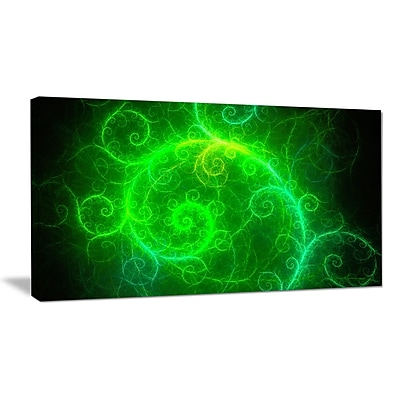 DesignArt 'Beautiful Green Pattern on Black' Graphic Art on Wrapped Canvas; 16'' H x 32'' W x 1'' D