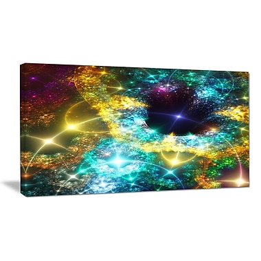 DesignArt 'Golden Cosmic Black Hole' Graphic Art on Wrapped Canvas; 16'' H x 32'' W x 1'' D