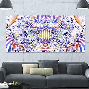 DesignArt 'Magical Fairy Pattern Blue' Graphic Art on Wrapped Canvas; 28'' H x 60'' W x 1.5'' D