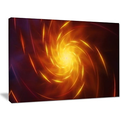 DesignArt 'Yellow Whirlpool Fractal Spirals' Graphic Art on Wrapped Canvas; 30'' H x 40'' W x 1'' D