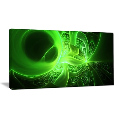 DesignArt 'Bright Green Designs on Black' Graphic Art on Wrapped Canvas; 16'' H x 32'' W x 1'' D