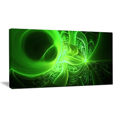 DesignArt 'Bright Green Designs on Black' Graphic Art on Wrapped Canvas; 16'' H x 32'' W x 1'' D