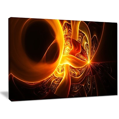 DesignArt 'Bright Yellow Designs on Black' Graphic Art on Wrapped Canvas; 30'' H x 40'' W x 1'' D