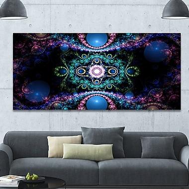 DesignArt 'Cabalistic Blue Fractal Pattern' Graphic Art on Wrapped Canvas; 28'' H x 60'' W x 1.5'' D