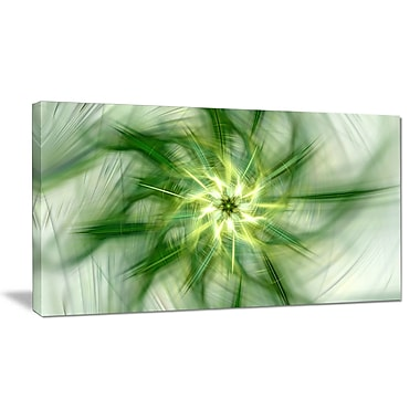 DesignArt 'Rotating Bright Green Flower' Graphic Art on Wrapped Canvas; 12'' H x 20'' W x 1'' D