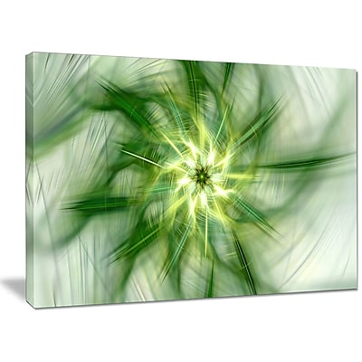 DesignArt 'Rotating Bright Green Flower' Graphic Art on Wrapped Canvas; 30'' H x 40'' W x 1'' D