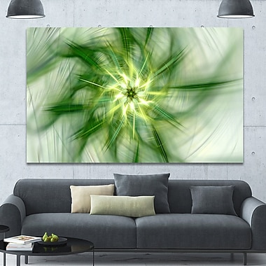 DesignArt 'Rotating Bright Green Flower' Graphic Art on Wrapped Canvas; 40'' H x 60'' W x 1.5'' D